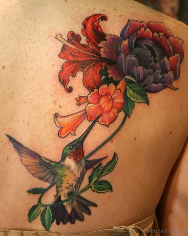 Hummingbird Tattoo And Flower Tattoo On Back