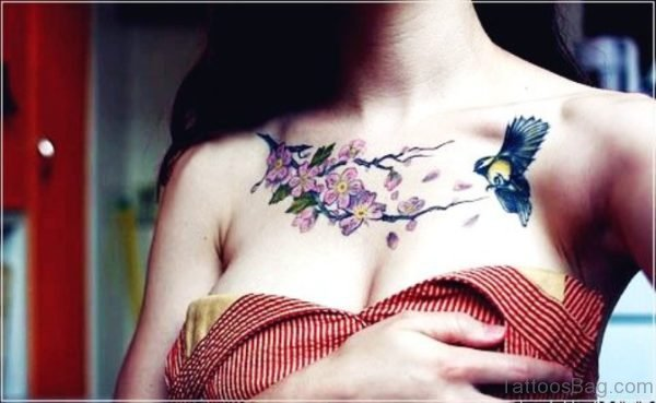 Hummingbird Tattoo On Chest