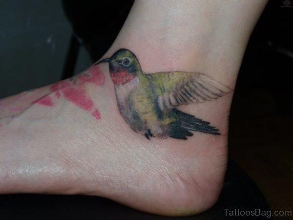 Hummingbird Tattoo On Foot