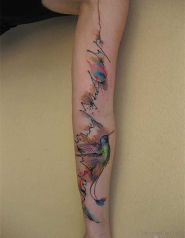 Hummingbird Tattoo On Full Sleeve