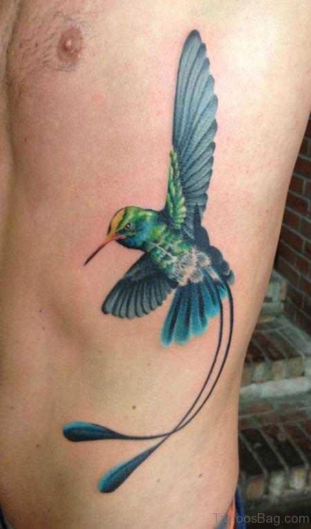 Hummingbird Tattoo On Rib