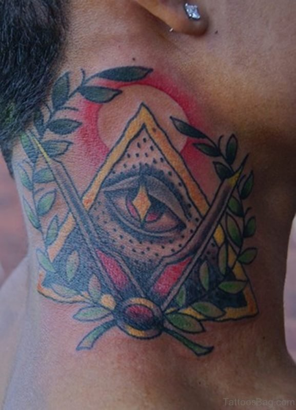 Illuminati Eye Tattoo On Side Neck