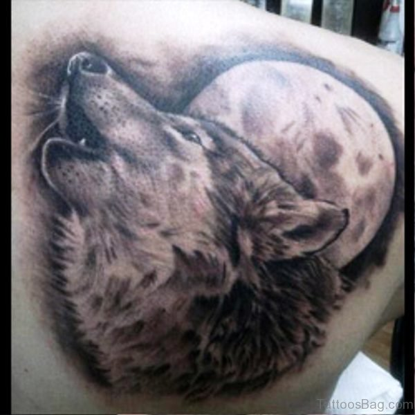 Image Of Alpha Wolf Tattoo On Back
