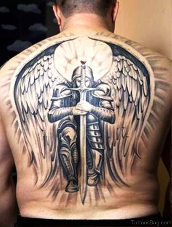 Image Of Archangel Tattoo On Back