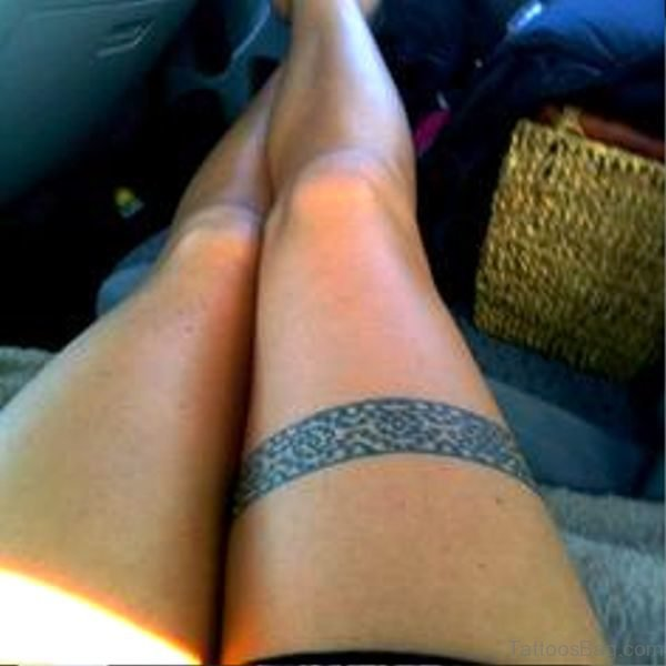 Image Of Band Tattoo On Leg