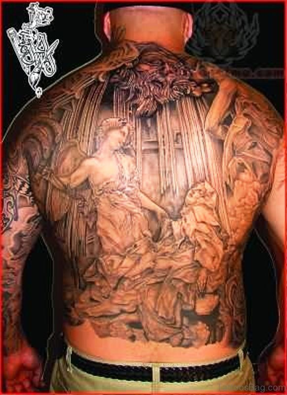 Image Of Big Angel Tattoo On Back