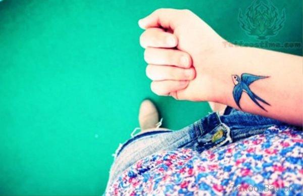 Image Of Blue Bird Tattoo On Wrist