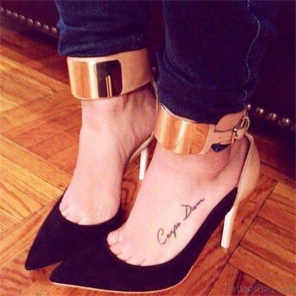 Image Of Carpe Diem Tattoo On Foot