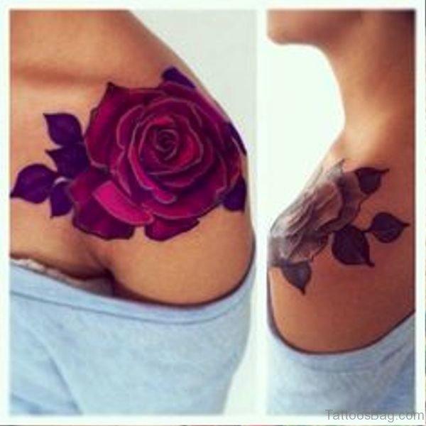 Image Of Rose Tattoo On Shoulder