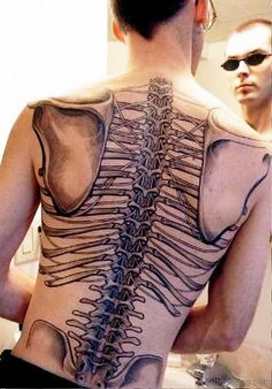 Image Of Skeleton Tattoo On Back