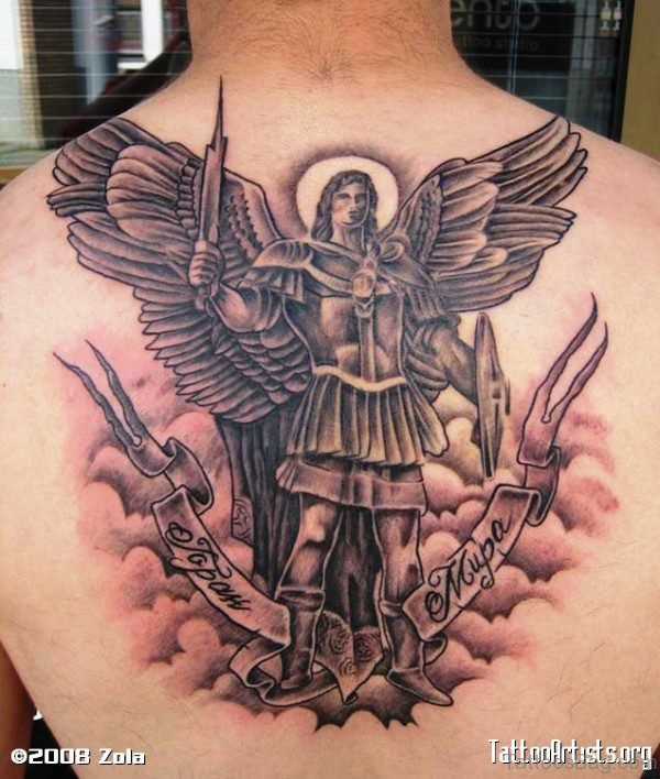 Impressive Archangel Tattoo On Back