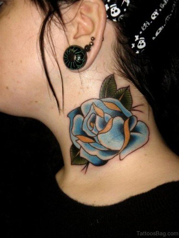 Impressive Blue Rose Tattoo On Neck