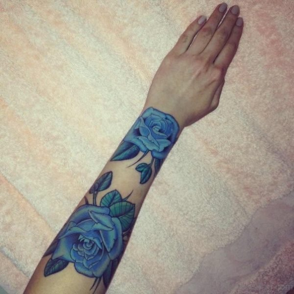 Impressive Blue Rose Tattoo On Wrist