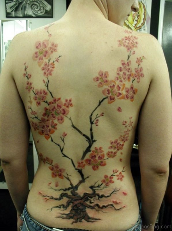 Impressive Cherry Blossom Tattoo On Full Back Body