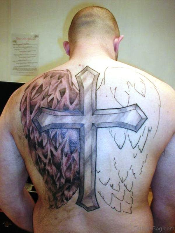 Impressive Cross Tattoo On Back