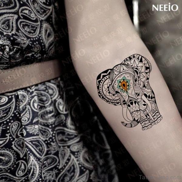 Impressive Elephant Tattoo On Forearm