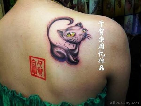 Impressive Kitty Tattoo On Back Shoulder