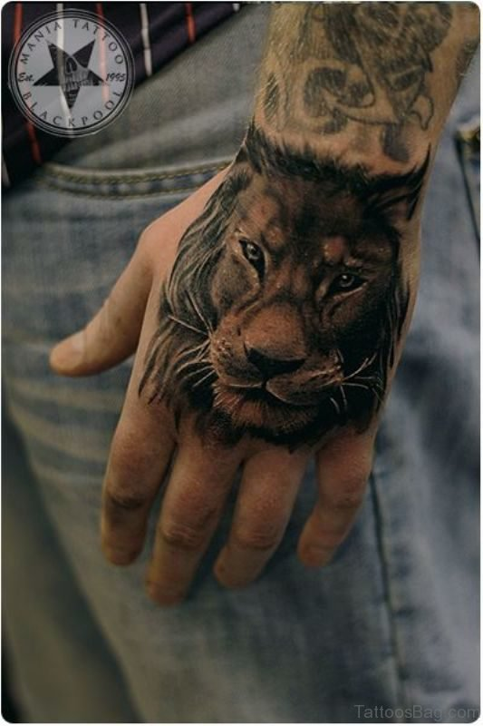 Impressive Lion Tattoo On Hand