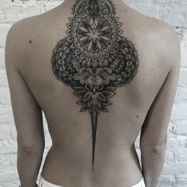 Impressive Mandala Back Tattoo On Neck