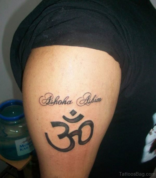 Impressive Om Tattoo On Shoulder