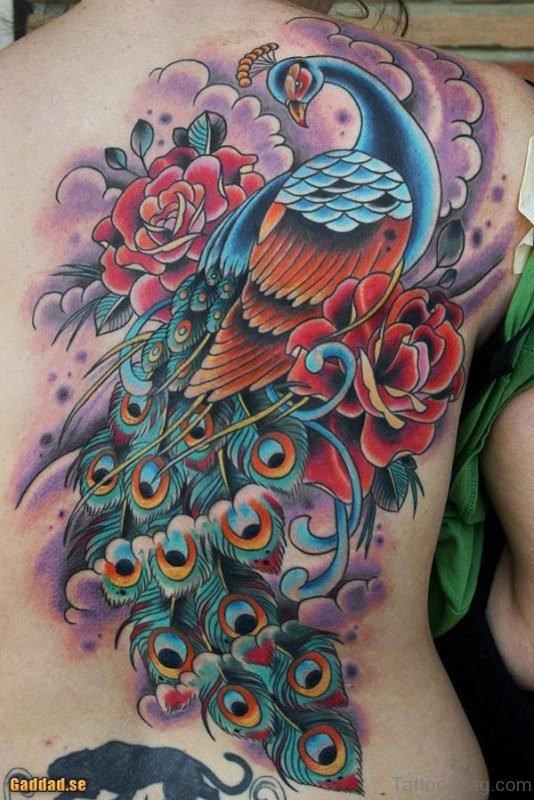 Impressive Peacock Tattoo On Back