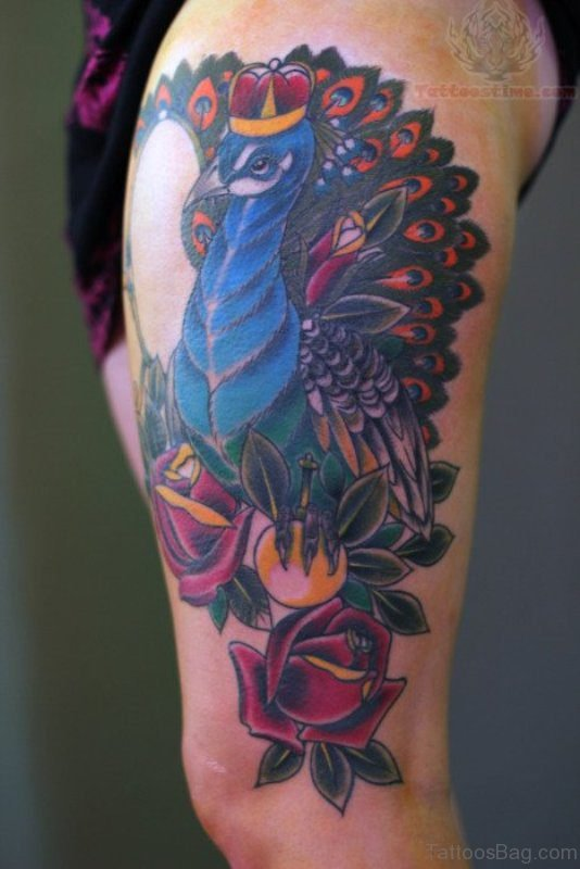Impressive Peacock Tattoo On Thigh