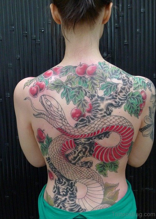 Impressive Snake Tattoo On Back Body