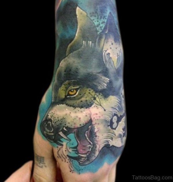 Impressive Wolf Tattoo On Hand