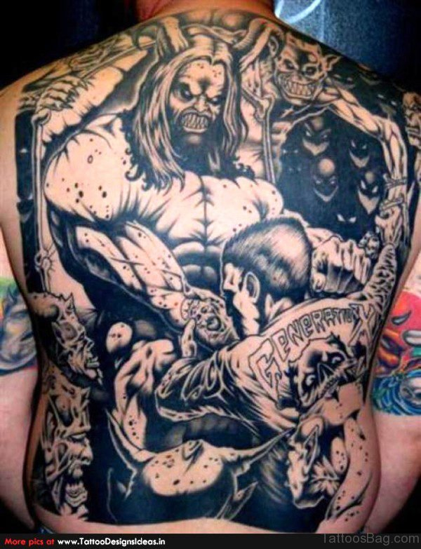 Incredible Devil Tattoo On Back