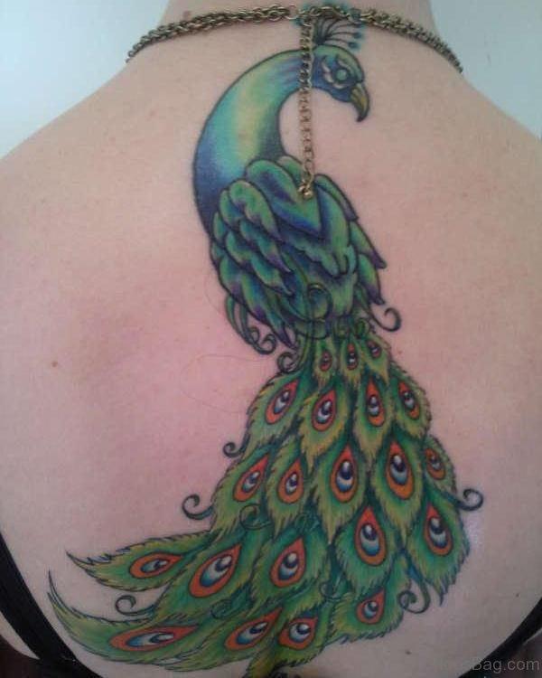 Incredible Peacock Back Tattoo