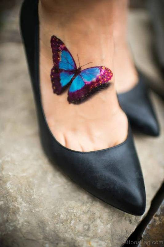 Innovative Butterfly Tattoo On Foot