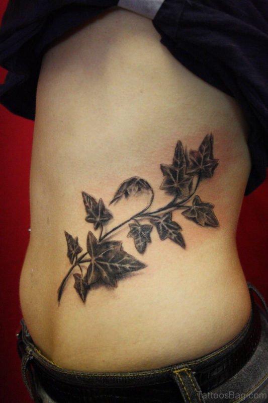 Ivy Leaves Tattoo On Rib
