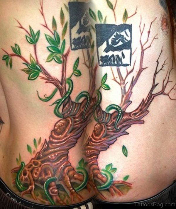 Ivy Tree Tattoo On Rib Side