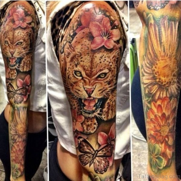 Jaguar Tattoo On Full sleeve