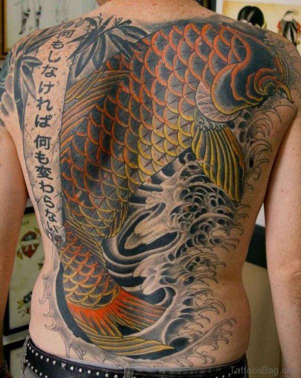 Japanese Fish Tattoo On Back