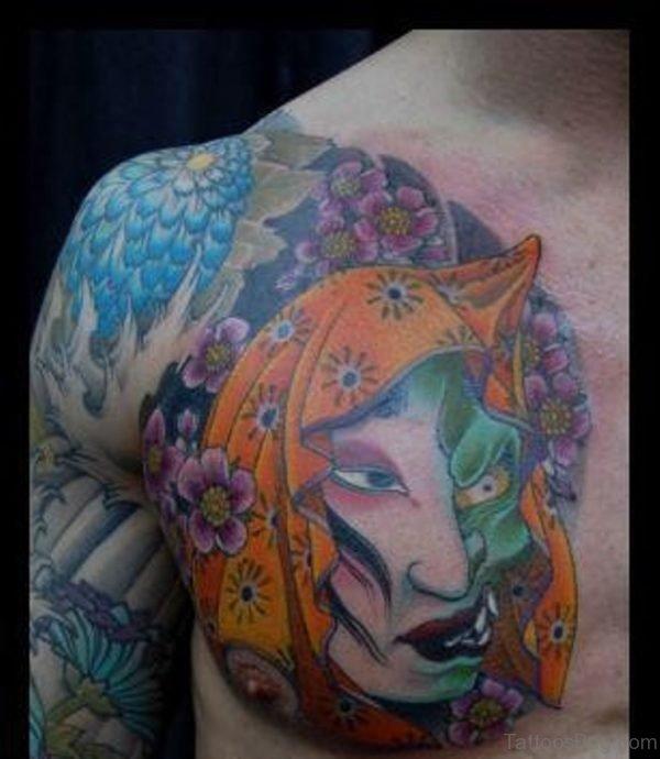 Japanese Hannya Mask Tattoo On Chest