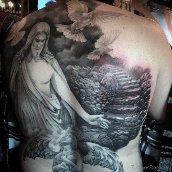 Jesus And Dove Tattoo
