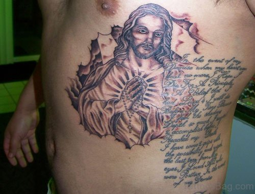 Jesus And Wording Tattoo