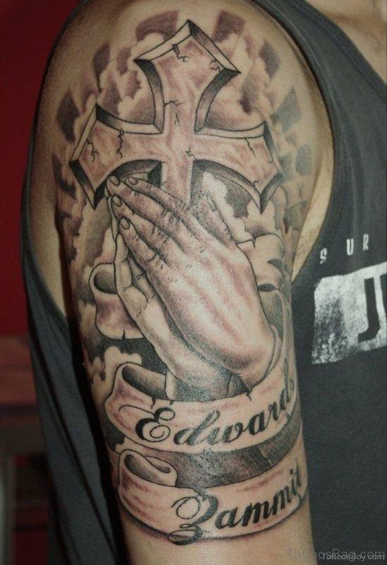 Jesus Cross Praying Hand Tattoo