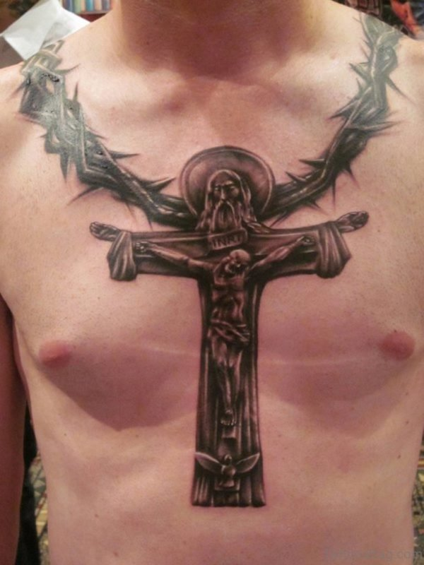 Jesus Cross Tattoo On Chest