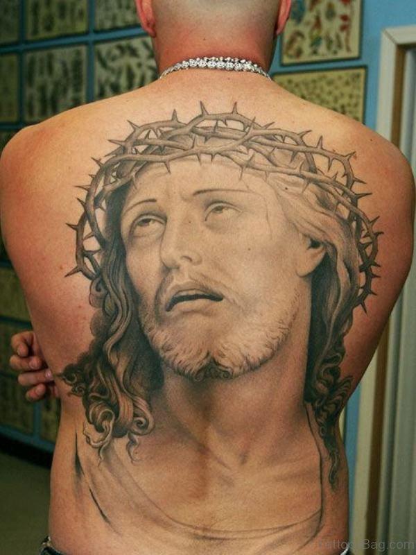 Jesus Tattoo On Back
