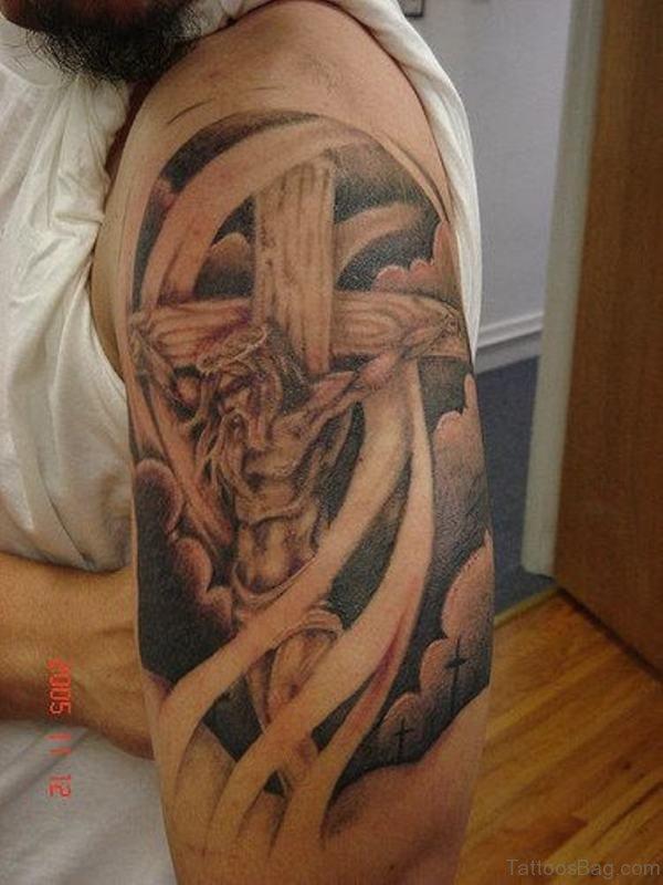 Jesus Tattoo On Left Shoulder