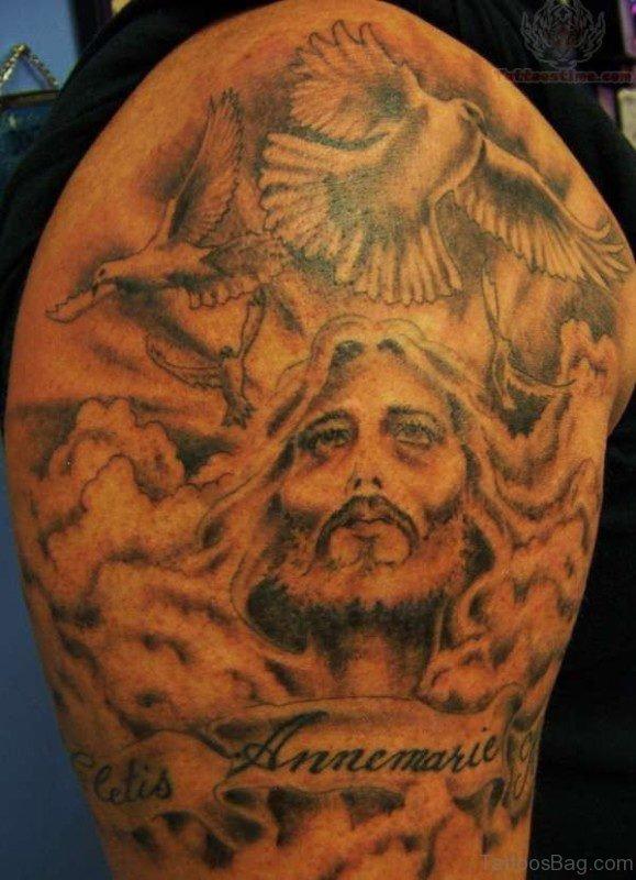Jesus Tattoo On Shoulder 1