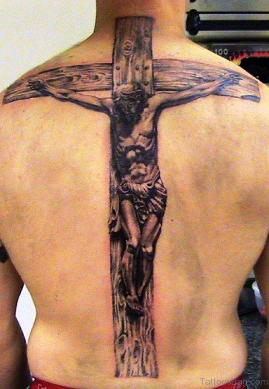 100 impressive big tattoos on back for Big cross tattoos