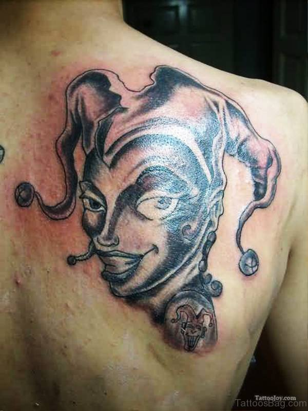 Joker Clown Tattoo On Back Shoulder