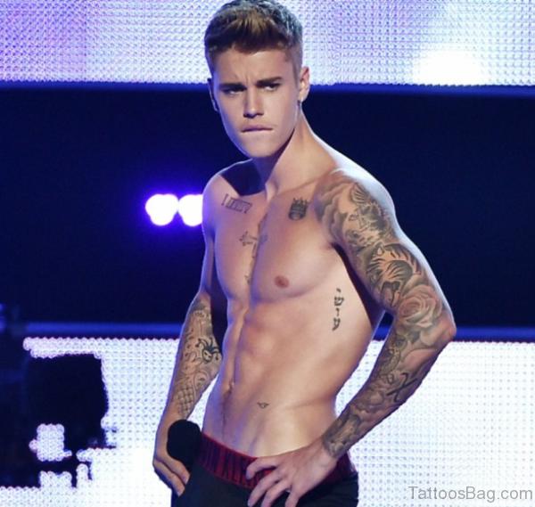 Justin Bieber Full Sleeve Tattoo