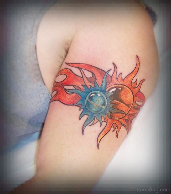 Jwewl Sun Band Tattoo On Arm