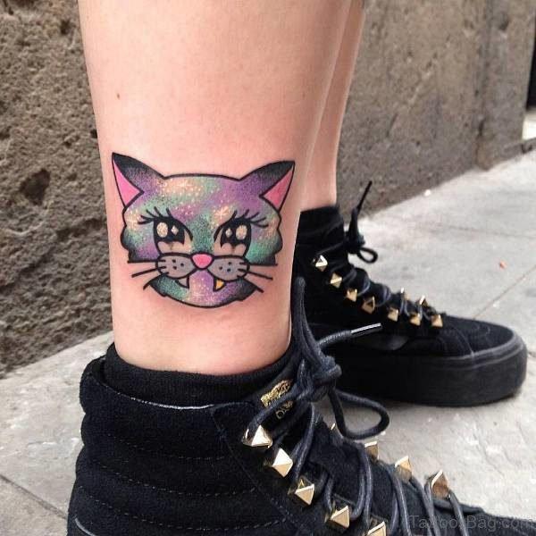 Kawaii Style Cat Tattoo On Leg