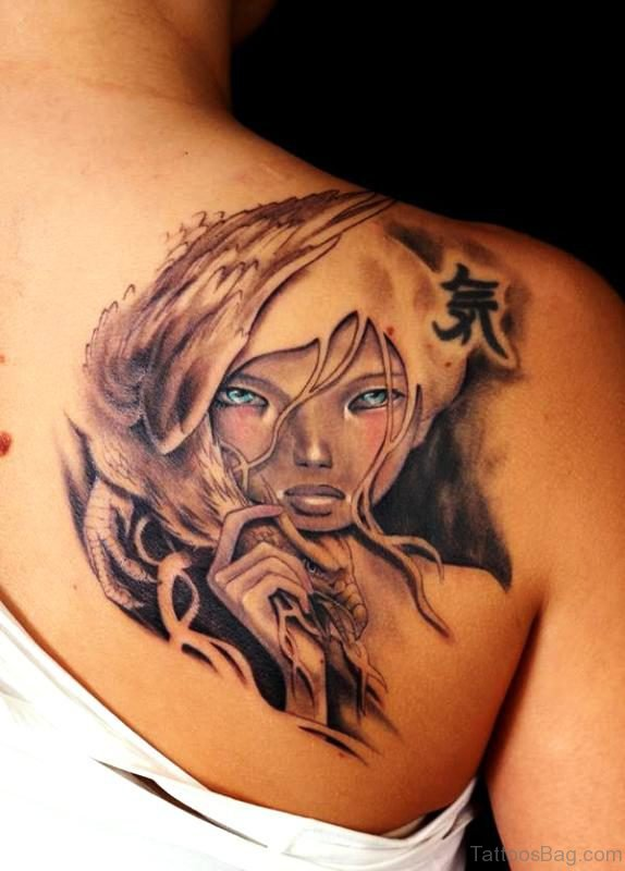 Kawasaki Girl Tattoo On Back Shoulder