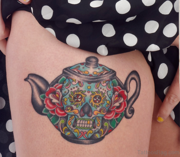 Kettle Tattoo On Thigh
